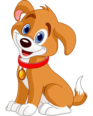 Clipart Dog Sitting. Image of Brown and White Dog with Red Collar