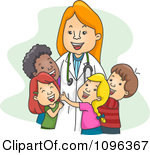 Clipart Female Pediatrician Doctor Huggi-Clipart Female Pediatrician Doctor Hugging Her Child Patients Royalty Free Vector Illustration-10