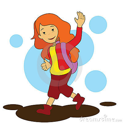Clipart Go To School Girl Going To School
