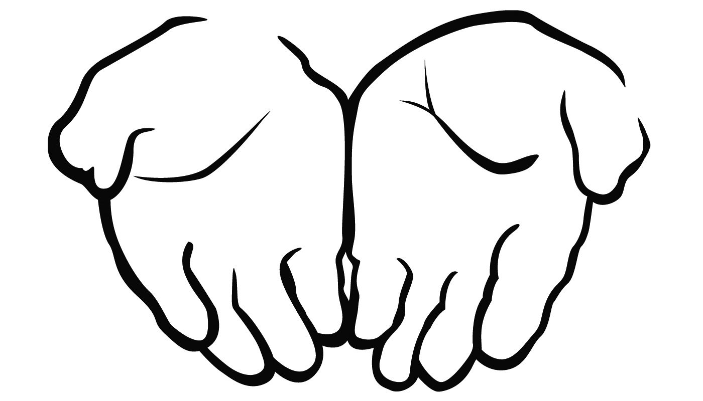 Clipart Hands Reaching . - Hands Clipart Black And White
