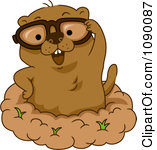 Clipart Happy Groundhog Wearing Glasses -Clipart Happy Groundhog Wearing Glasses And Standing In His Hole Royalty Free Vector Illustration-1