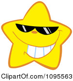 Clipart Happy Yellow Star Wearing Shades Royalty Free Vector Illustration