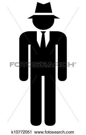Clipart - Human icon, mafia.. Fotosearch - Search Clip Art, Illustration Murals
