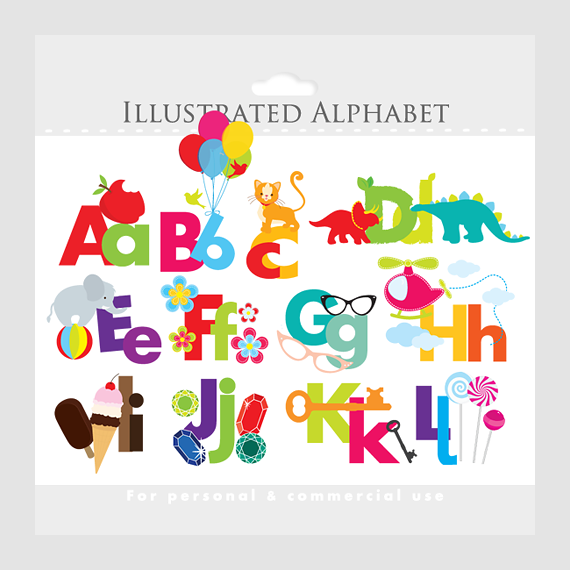 Clipart Illustrated Alphabet .-Clipart Illustrated Alphabet .-14