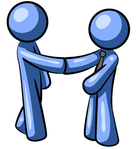 Clipart Illustration Of A Blue Man Weari-Clipart Illustration Of A Blue Man Wearing A Tie Shaking Hands With-3
