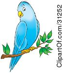 Clipart Illustration Of A Friendly Blue -Clipart Illustration Of A Friendly Blue Parakeet Perched On A Tree Branch-3