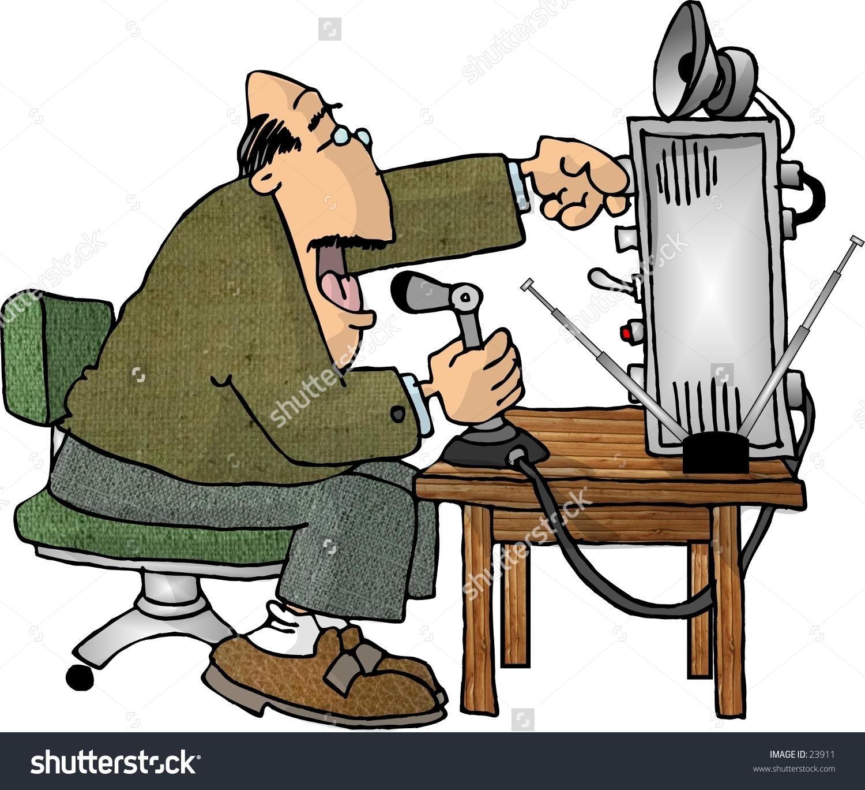 Clipart illustration of a man using a ham radio.