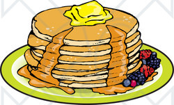 Clipart Illustration Of A Stack Of Six B-Clipart Illustration Of A Stack Of Six Buttermilk Pancakes Topped With-6