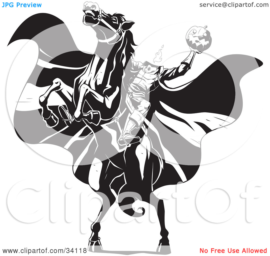 Clipart Illustration of The Headless Horseman On A Rearing Horse, Holding Up A Jack O Lantern As His Cape Blows In The Wind by Lawrence Christmas ...