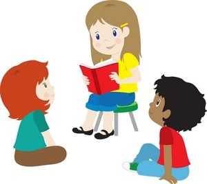 Clipart Image - Kids, Boys and Girls Reading Books at Story Time | Summer Fun | Pinterest | Free clipart images, Children and Readingu2026