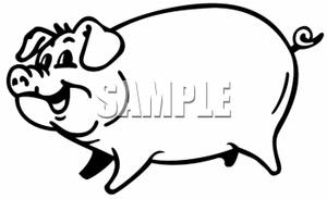 Clipart Image Of A Happy Fat Pig Outlined With Black