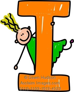 Clipart Image Of A Happy Little Girl Cli-Clipart Image Of A Happy Little Girl Climbing Over A Giant Letter I-5