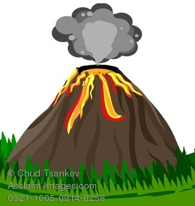 Clipart Image Of Smoke Above An Erupting Volcano