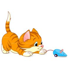CLIPART KITTEN PLAYING WITH MOUSE   Roya-CLIPART KITTEN PLAYING WITH MOUSE   Royalty free vector design-14