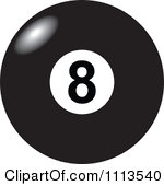 Clipart Light Shining Off Of A Black And White Billiards 8 Ball Royalty Free Vector Illustration