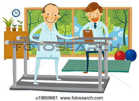 Clipart - Male physical therapist with p-Clipart - Male physical therapist with patient. Fotosearch - Search Clip Art, Illustration Murals-19