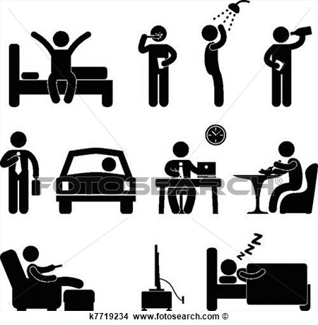 Clipart Man Daily Routine People Icon Sign Fotosearch Search Clip