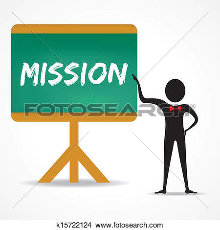Clipart - Man points to mission word on board. Fotosearch - Search Clip Art,