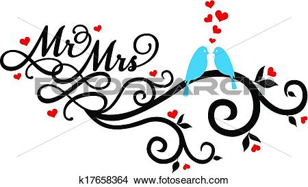 Clipart - Mr and Mrs wedding birds, vector. Fotosearch - Search Clip Art,