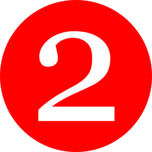 clipart number 2. Red, Rounded,with Number 2 .