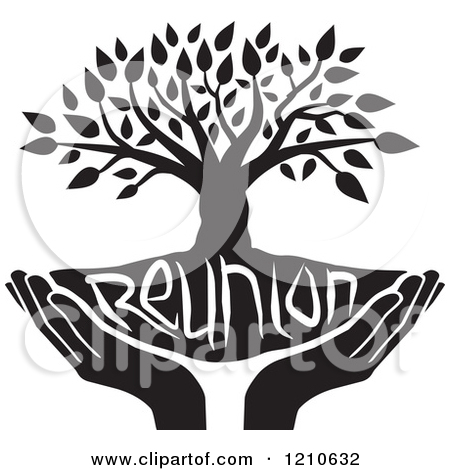Clipart of a Black and White  - Family Reunion Tree Clip Art