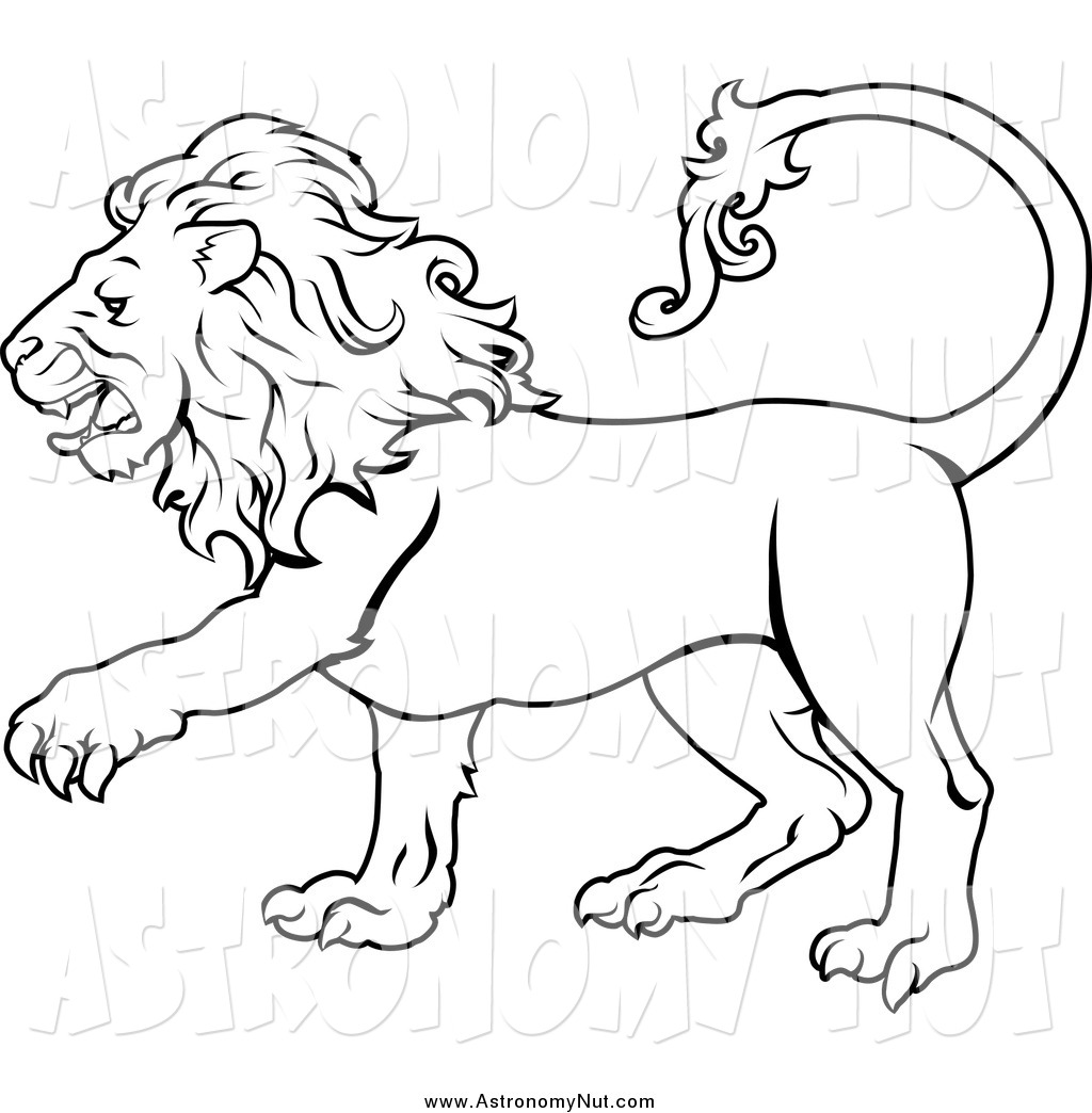 Clipart Of A Black And White Lion By Geo-Clipart Of A Black And White Lion By Geo Images 806-3