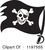Clipart Of A Black And White Pirate Flag On A Sword Royalty Free