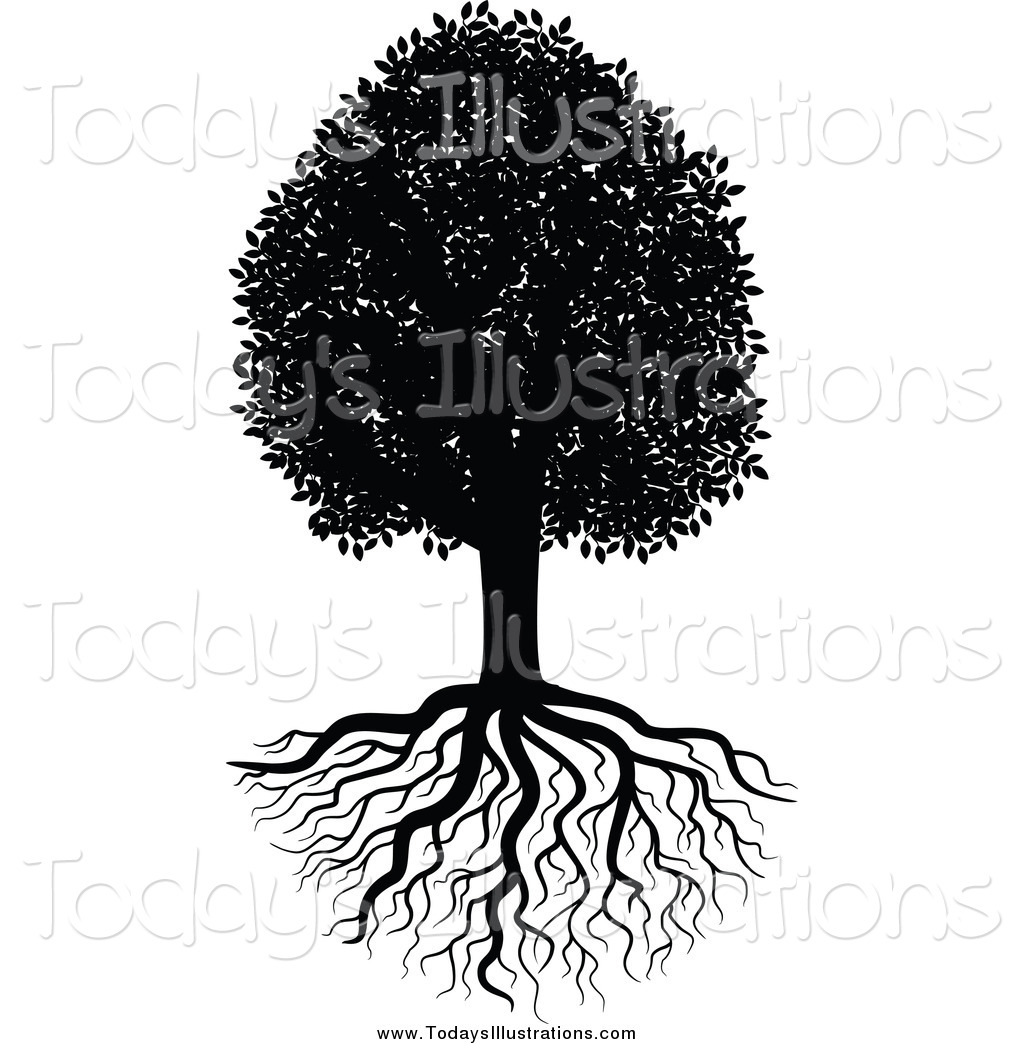 Clipart Of A Black And White Tree And Lush Roots By Seamartini