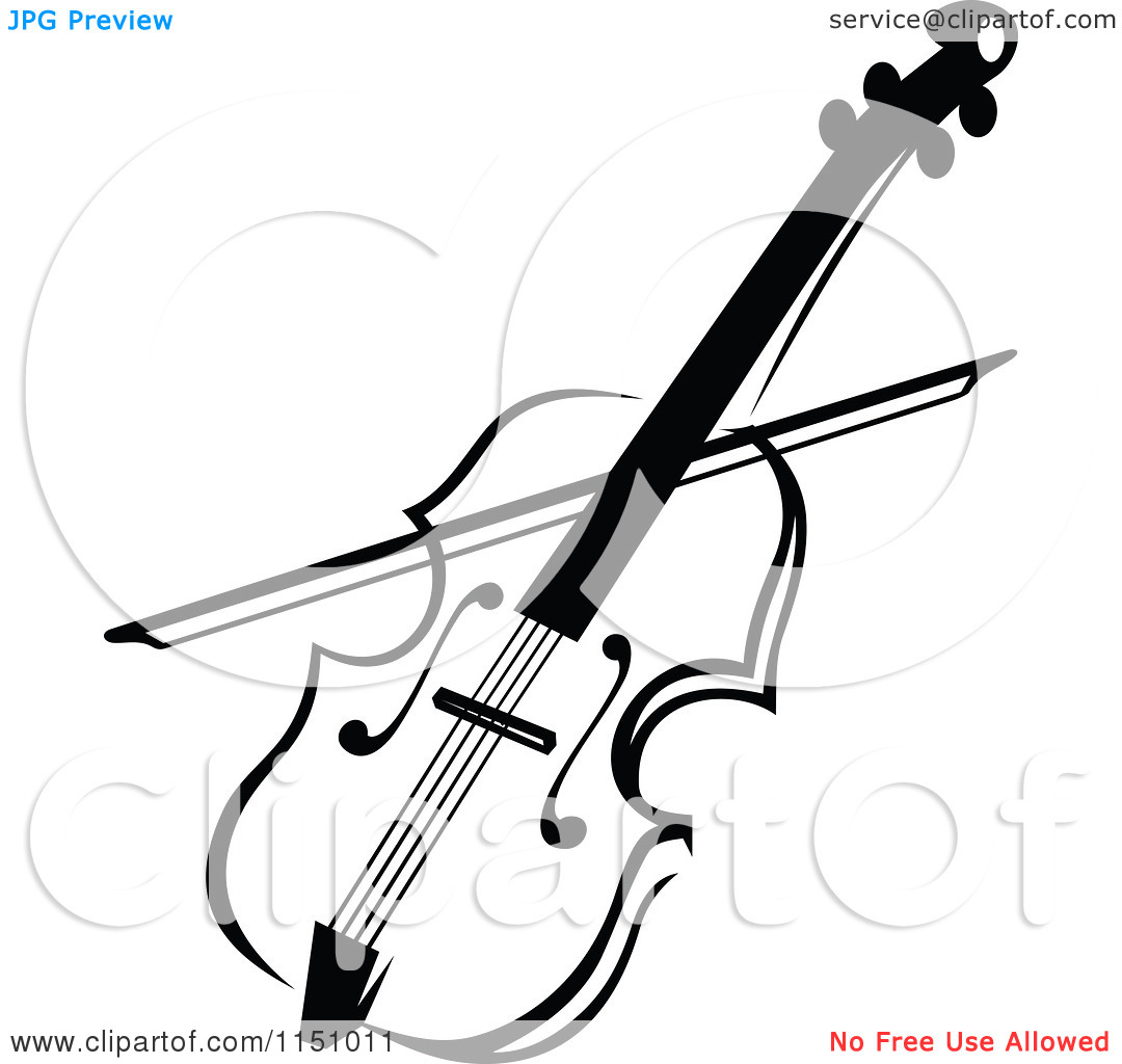 Clipart of a Black and White Viola or Fiddle Violin - Royalty Free Vector Clipart by Vector Tradition SM