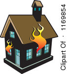 Clipart Of A Black House On Fire Royalty Free Vector Illustration