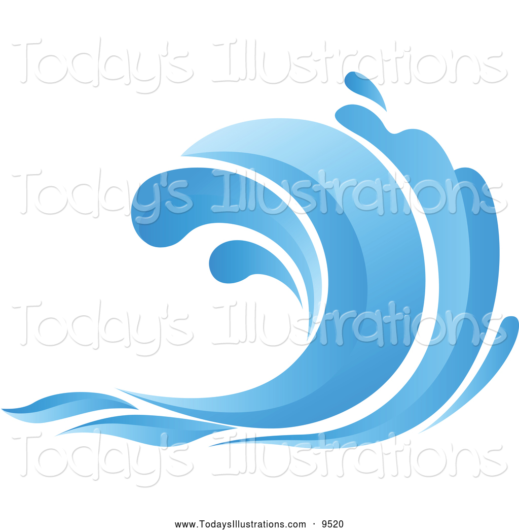 Clipart Of A Blue Ocean Wave By Seamarti-Clipart Of A Blue Ocean Wave By Seamartini Graphics 9520-1