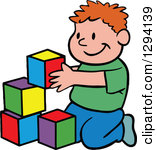 Clipart Of A Cartoon Happy Red Haired White Boy Playing With Building Block Toys Royalty Free