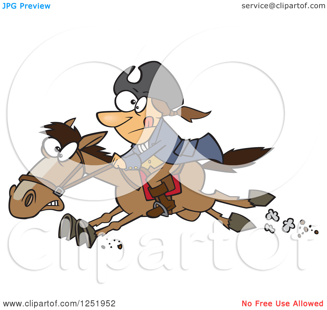 Clipart of a Cartoon Paul Revere Riding a Horse - Royalty Free Vector Illustration by Ron Leishman