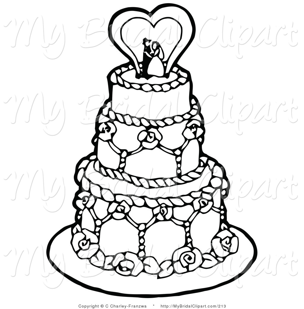 Clipart Of A Coloring Page Of A Black An-Clipart Of A Coloring Page Of A Black And White Tiered Wedding Cake-11