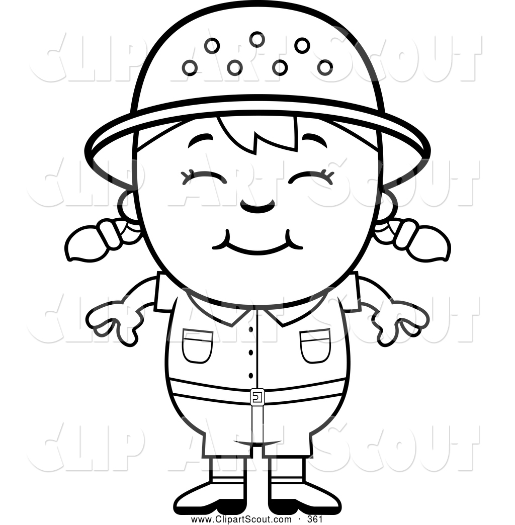 Clipart Of A Cute Black And White Happy -Clipart Of A Cute Black And White Happy Safari Girl By Cory Thoman-10