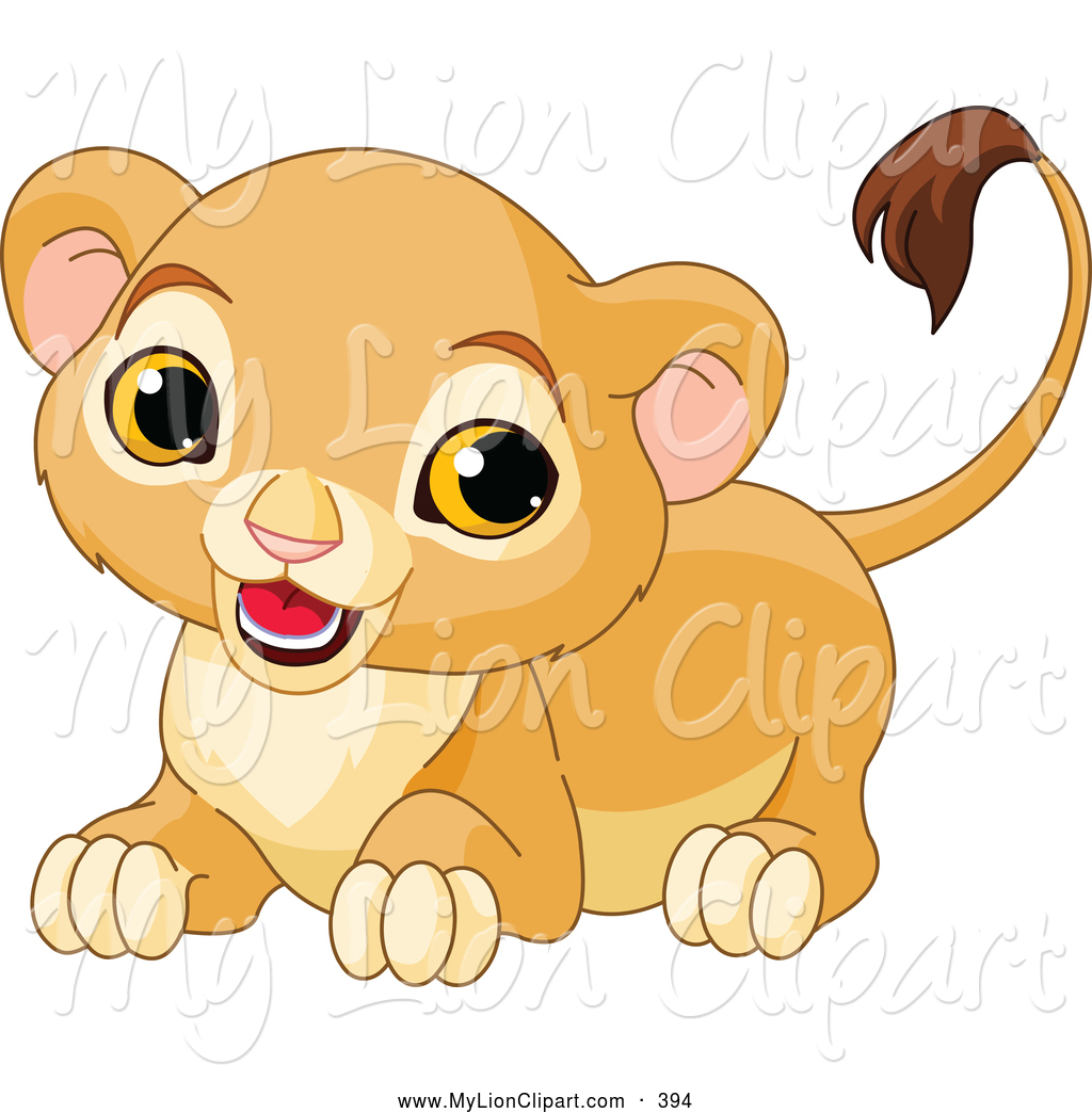 Clipart of a Cute Lion Cub Crouching and Looking Left