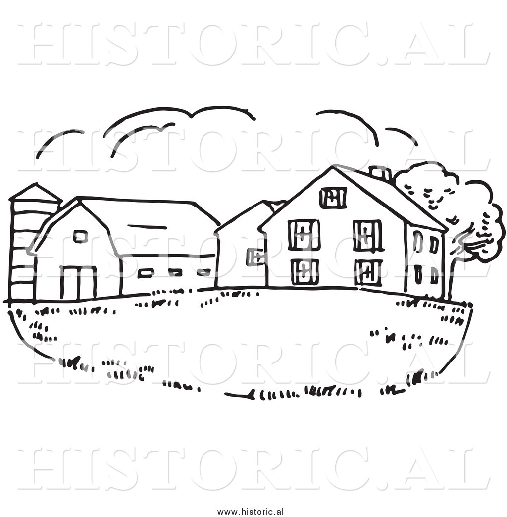 Clipart Of A Farm House With Silo And Barn Black And White Drawing