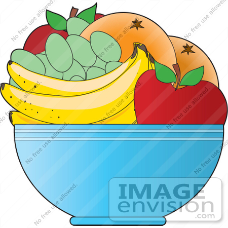 Clipart Of A Fruit Bowl With Apples Oranges Green Grapes And Bananas