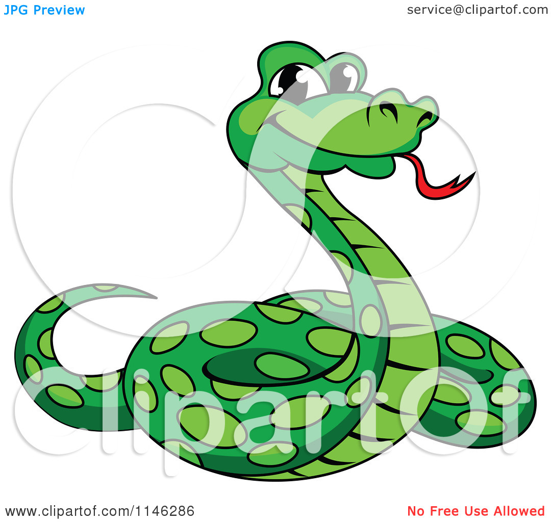 Clipart Of A Green Phython Snake - Royal-Clipart of a Green Phython Snake - Royalty Free Vector Illustration by Vector Tradition SM-3