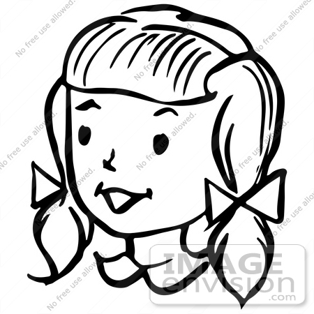 Clipart Of A Happy Retro Girl In Black A-Clipart Of A Happy Retro Girl In Black And White Royalty Free Vector-12