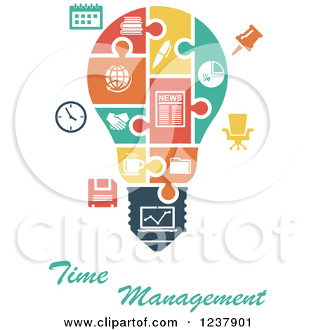 Clipart of a Jigsaw Puzzle Time Manageme-Clipart of a Jigsaw Puzzle Time Management Light Bulb - Royalty Free Vector Illustration by Vector Tradition SM-12
