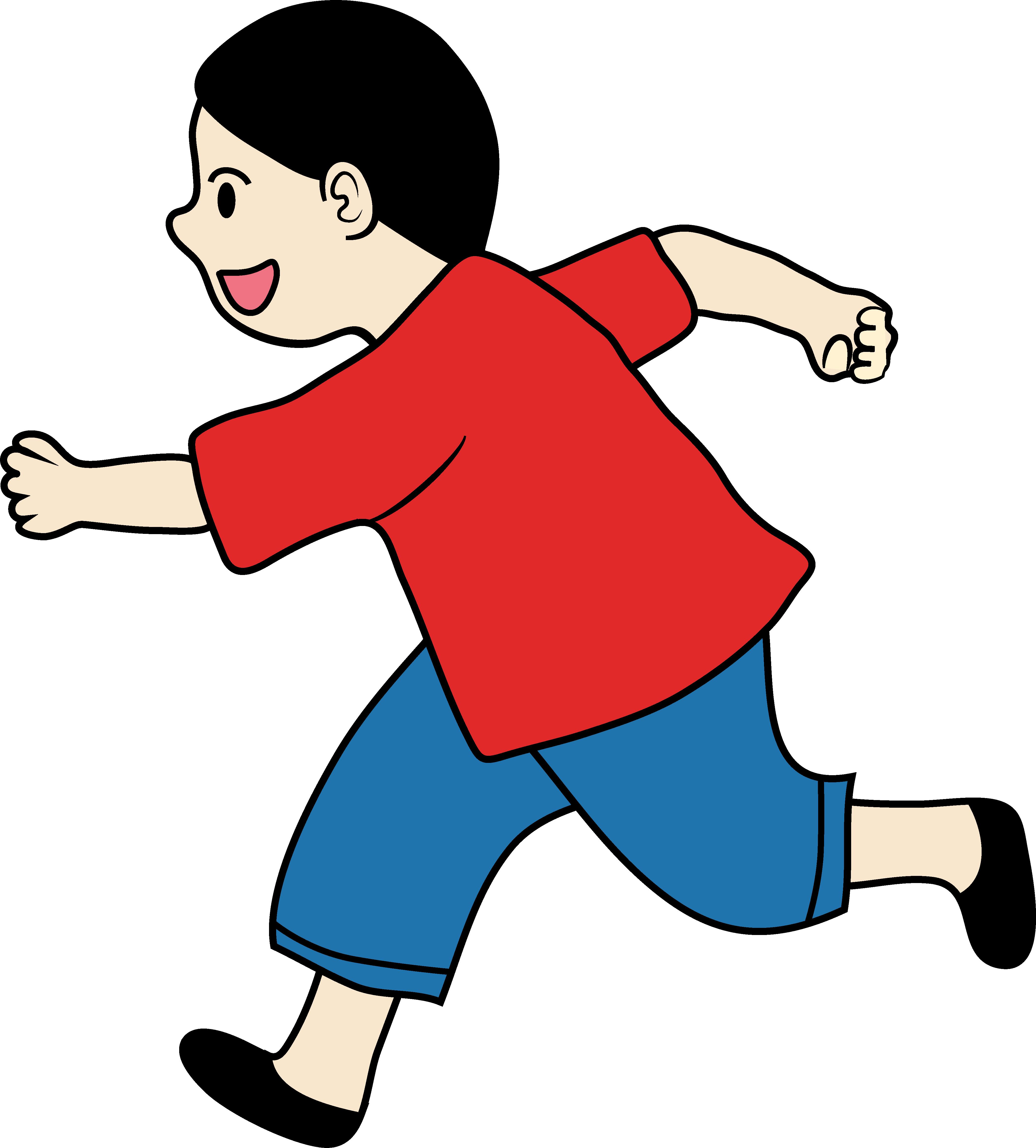 Clipart of a Little Boy Running - Free Clip Art