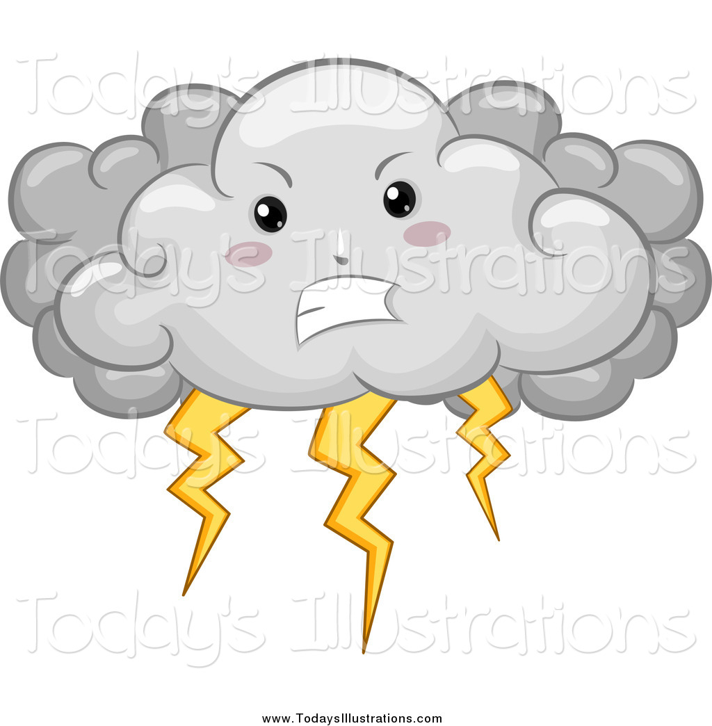 Clipart Of A Mad Storm Cloud With Lightning By Bnp Design Studio