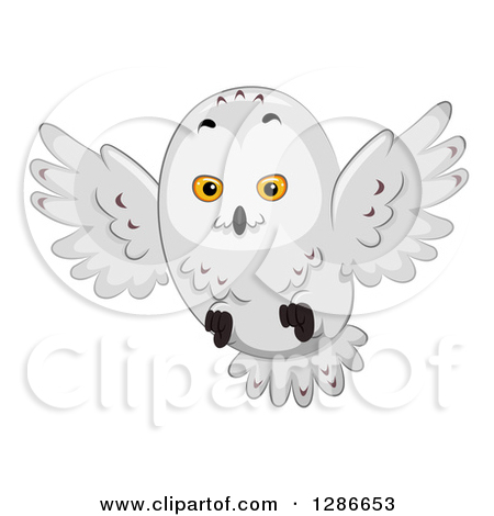 Clipart Of A Snowy Owl Flying .-Clipart of a Snowy Owl Flying .-3