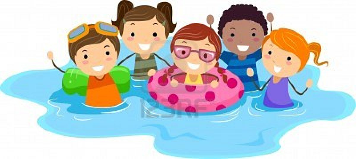 Clipart Of Children Swimming. - Kids Swimming Clipart