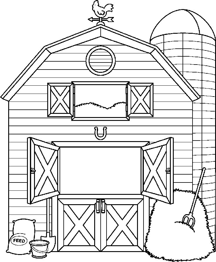 66 Farm Clipart Black And White