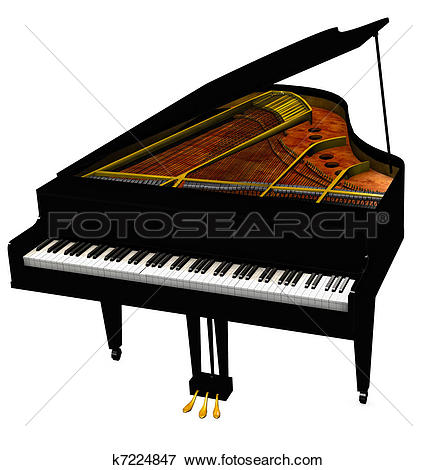 Clipart of Grand-piano isolated on a whi-Clipart of Grand-piano isolated on a white background-11