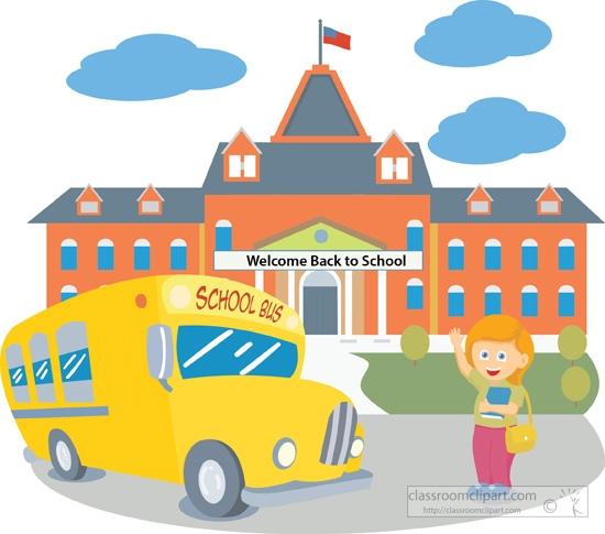 Clipart of school buildings - ... school-building-with-bus-
