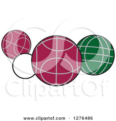 Clipart of White, Red and Green Bocce Balls - Royalty Free Vector Illustration by Johnny Sajem