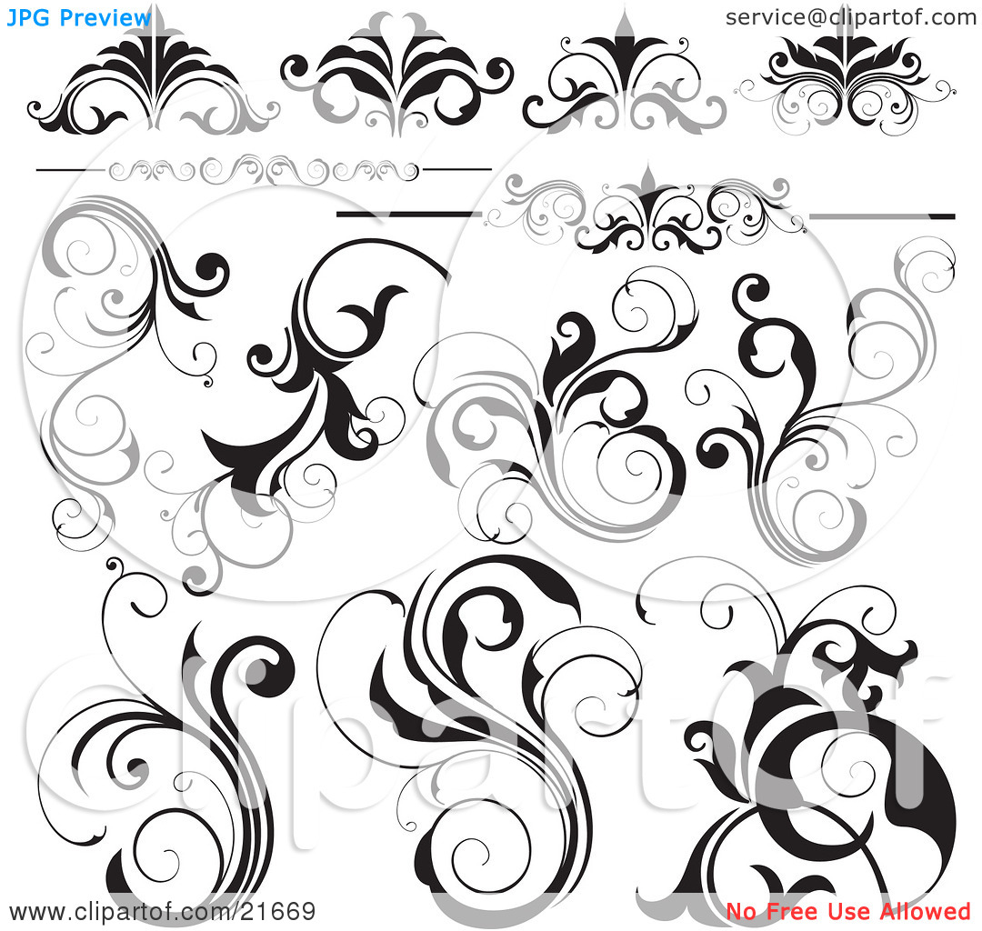 Clipart Picture Illustration of a Collection Of Black And White Flourishes, Flowers And Vines, Over White by OnFocusMedia